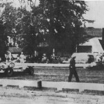 The accident scene with the cars of Keller, Elisian, and Boyd.