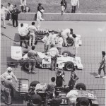 Bill Vukovich Jr Jerry Grant Mel Keyon prepare for the start 1973