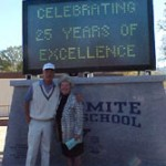 The Vukovich's at their son's high school where they honored Billy III.