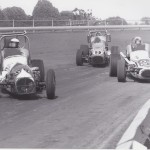 Earnshaw followed by Bill Vukovich, Jr. and the great A. J. Foyt at Duquoin, Illinois in 1968