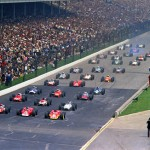 The pace lap,1968, Rookie Bill Vukovich II is in the big show.  What a great formation.